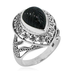 Royal Bali Collection Boi Ploi Black Spinel (Pear) Solitaire Ring in Sterling Silver 5.500 Ct. Silver wt 6.00 Gms.