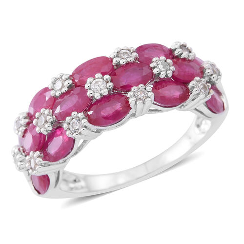 9K White Gold AAA Burmese Ruby (Ovl), Natural White Cambodian Zircon Ring 4.000 Ct.