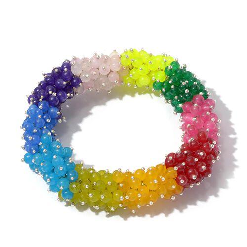 Multi Colour Quartsite Ball Bracelet in Silver Tone (Size 7.5) 138.950 Ct.