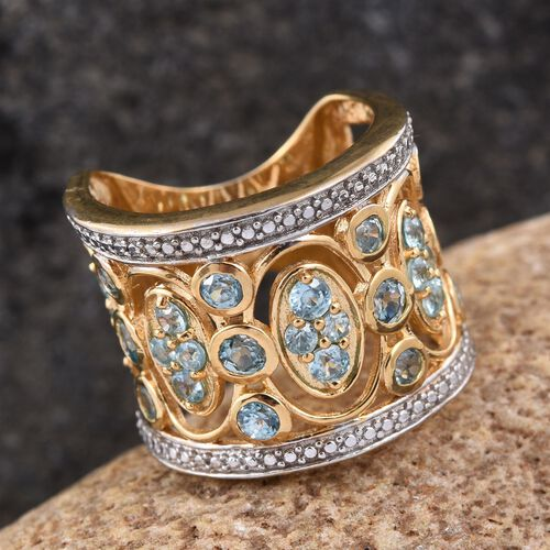 AA Natural Cambodian Blue Zircon (Rnd) Ring in 14K Gold Overlay Sterling Silver 2.750 Ct.