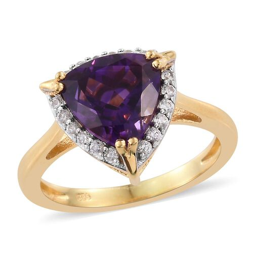 Moroccan Amethyst (Trl), Natural Cambodian Zircon Ring in 14K Gold Overlay Sterling Silver 3.330 Ct.