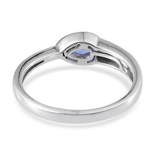 Tanzanite (Pear) Solitaire Ring in Platinum Overlay Sterling Silver 0.750 Ct.