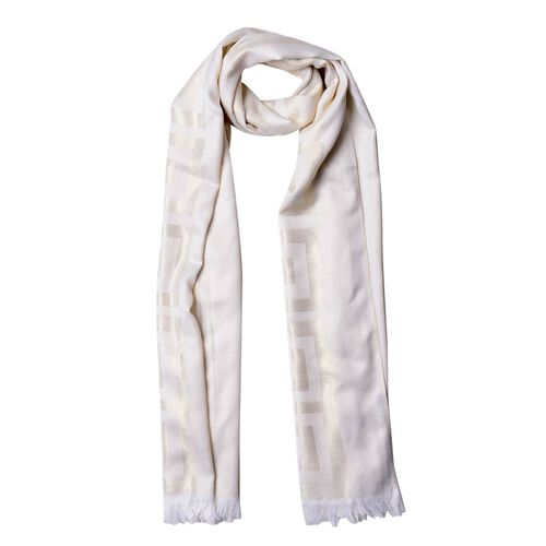 New For Season - Wall Pattern White Colour Scarf (Size 180x70 Cm)