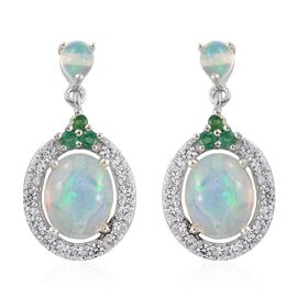 Ethiopian Welo Opal (Ovl), Natural Cambodian Zircon and Kagem Zambian Emerald Earrings (with Push Back) in Platinum Overlay Sterling Silver 5.000 Ct.