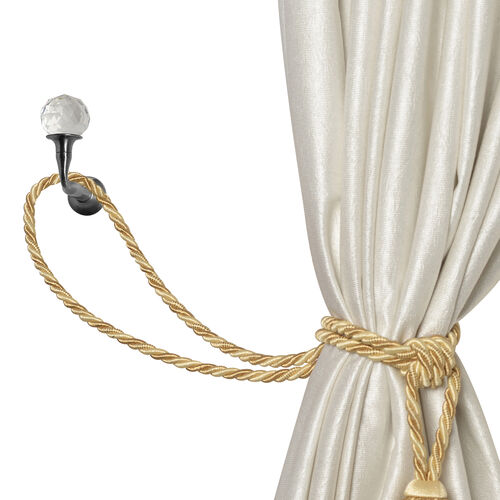 Pair of Black Colour Curtain Tieback Hooks with Crystal (Size 6.5X4.75 Cm)