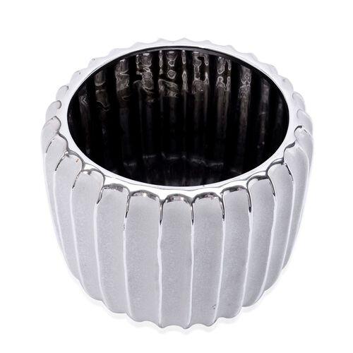 Silver Colour Stoneware Ceramic Handcrafted Flower Pot (Size 18x16 Cm)