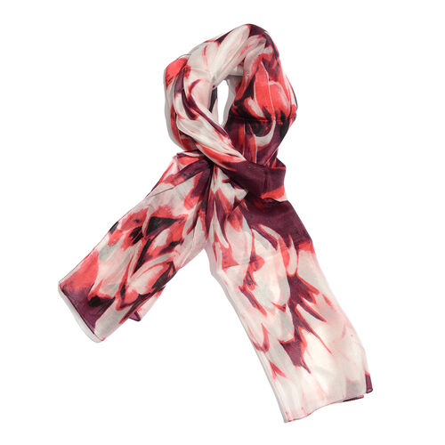 New For Season- 100% Mulberry Silk Burgundy, Red and Multi Colour Handscreen Printed Scarf (Size 180x50 Cm)