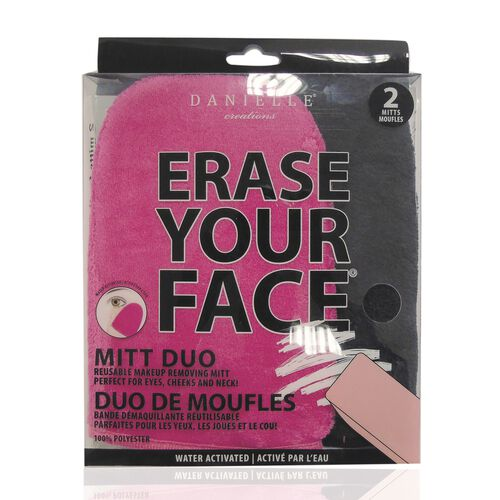Erase Your Face 2 Piece Mitt Set - Black & Pink