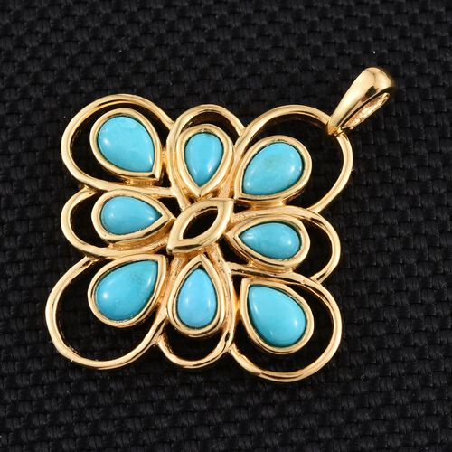 Arizona Sleeping Beauty Turquoise (Pear) Pendant in 14K Gold Overlay Sterling Silver 2.500 Ct.