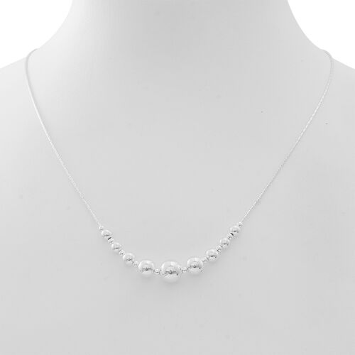 Vicenza Collection-Designer Inspired Sterling Silver Graduated Necklace (Size 20), Silver wt 9.01 Gms.