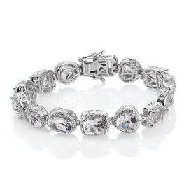 White Topaz and Natural Cambodian Zircon Bracelet (Size 6.75) in Platinum Overlay Sterling Silver 18.421 Ct. Silver wt. 24.00 Gms.