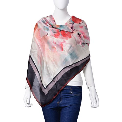 Red and White Colour Bloom Flower Pattern Beige, Red, Black and Multi Colour Scarf (Size 110X110 Cm)