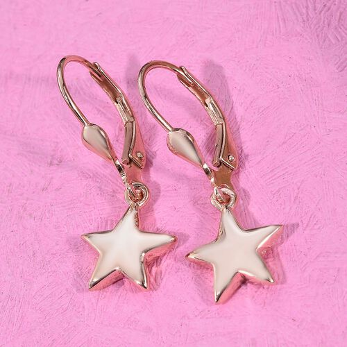 Star Silver Lever Back Earrings in Rose Gold Overlay, Silver Wt 2.67 gms