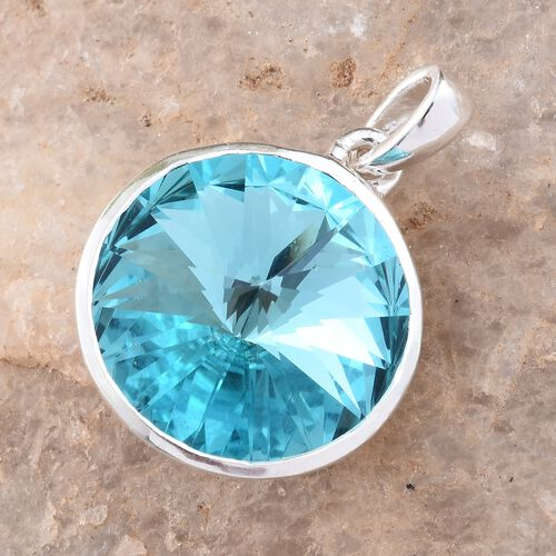 J Francis Crystal from Swarovski - Light Turquoise Colour Crystal (Rnd) Solitaire Pendant in Sterling Silver