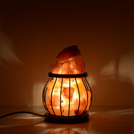 Natural Pink Himalayan Rock Salt Basket Lamp - With 1.6KG Salt Bag - Drum