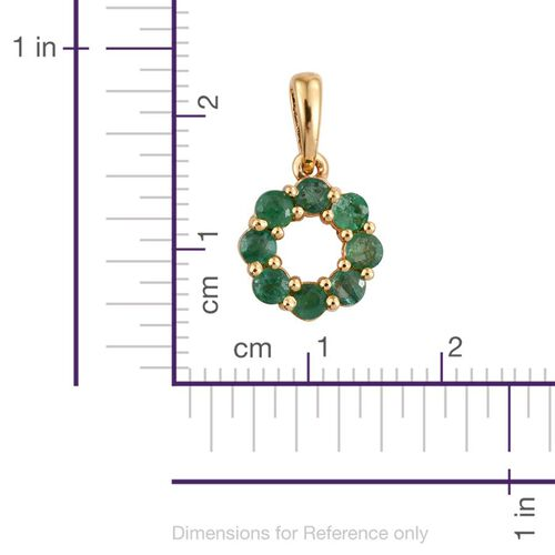 Brazilian Emerald (Rnd) Circle of Life Pendant in 14K Gold Overlay Sterling Silver