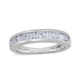 ILIANA 18K White Gold IGI Certified Diamond (Bgt and Rnd) (SI/G-H) Half Eternity Ring 0.500 Ct.