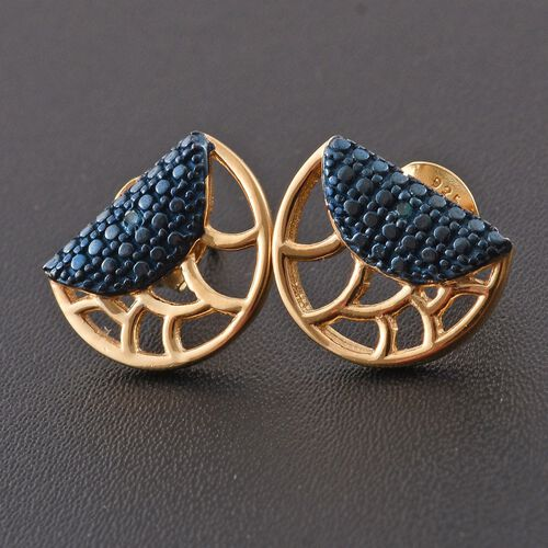 Blue Diamond (Rnd) Stud Earrings (with Push Back) in 14K Gold Overlay Sterling Silver