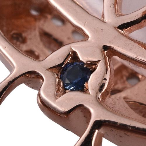 GP Rose Quartz (Cush), Rhodolite Garnet, Kanchanaburi Blue Sapphire and White Topaz Earrings in Rose Gold Overlay Sterling Silver 18.250 Ct.