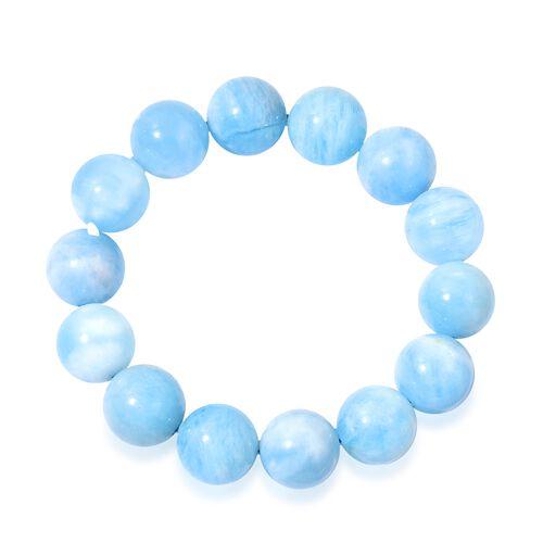Very Rare Size Espirito Santo Aquamarine (15-16mm) Ball Beads Stretchable Bracelet (Size 6.5) 335.000 Ct.