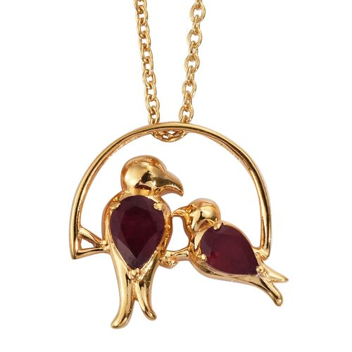African Ruby Mother and Child Bird Pendant with Chain in Gold Plated Silver 1.25 Ct