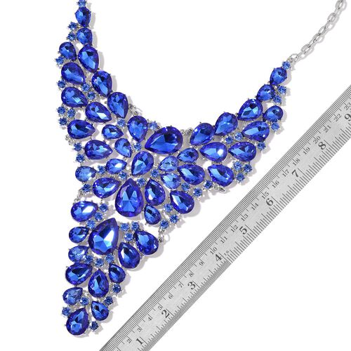 AAA Simulated Blue Sapphire Waterfall Necklace (Size 18 with 1 inch Extender) in Silver Tone