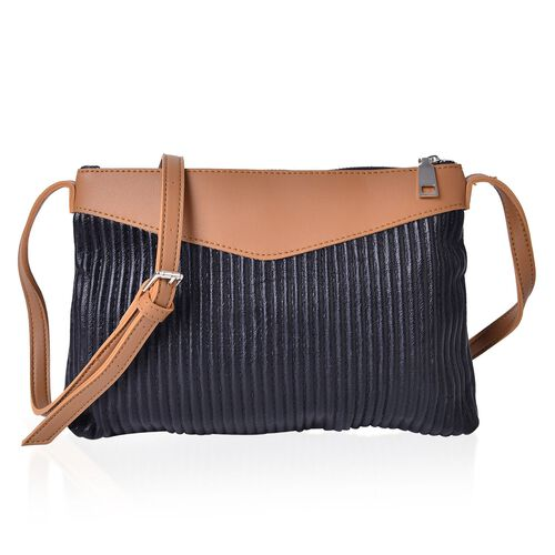 Classic Black Pleated Crossbody Bag with Adjustable Shoulder Strap (Size 27X24X18 Cm)