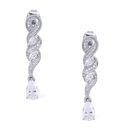J Francis - Platinum Overlay Sterling Silver (Pear) Drop Earrings Made with SWAROVSKI ZIRCONIA 2.512 Ct.