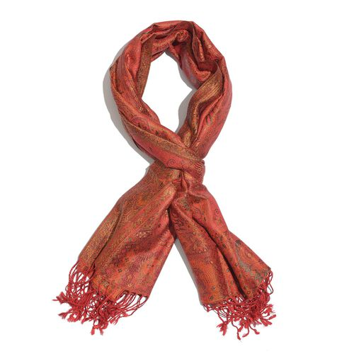 SILK MARK - 100% Superfine Silk Orange, Red and Multi Colour Jacquard Jamawar Scarf with Tassels (Size 180x70 Cm) (Weight 125- 140 Gms) (Weight 125 - 140 Gms)