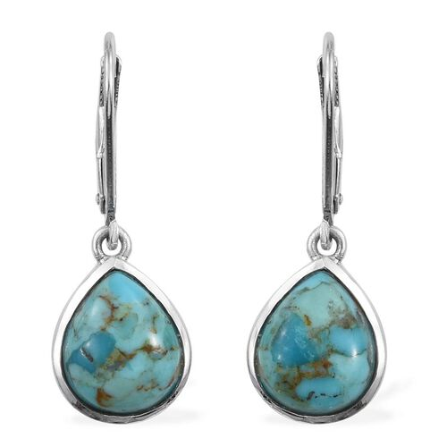 Arizona Matrix Turquoise (Pear) Lever Back Earrings in Platinum Overlay Sterling Silver 4.500 Ct.