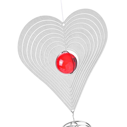 Home Decor - Hanging 3D Wind Spinner With Red and White Balls Inside (Size 32.13 Cm)