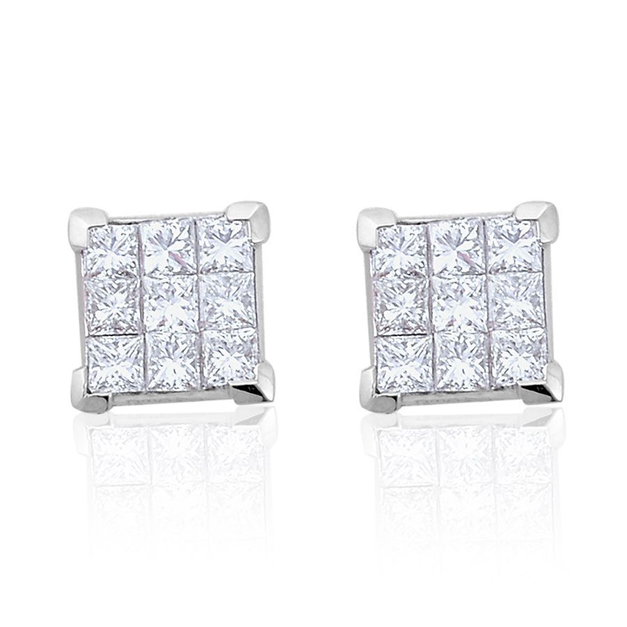 invisible white square tw set diamond in earrings gold jewelry