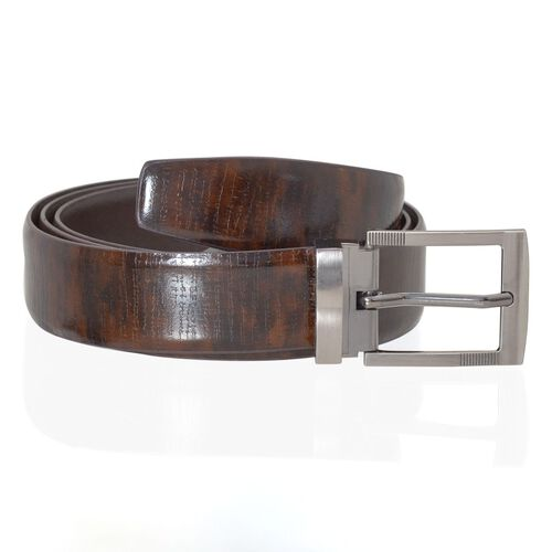 Genuine Leather Brown Colour Mens Belt with Silver Tone Buckle (Size 38-40.5 inch)