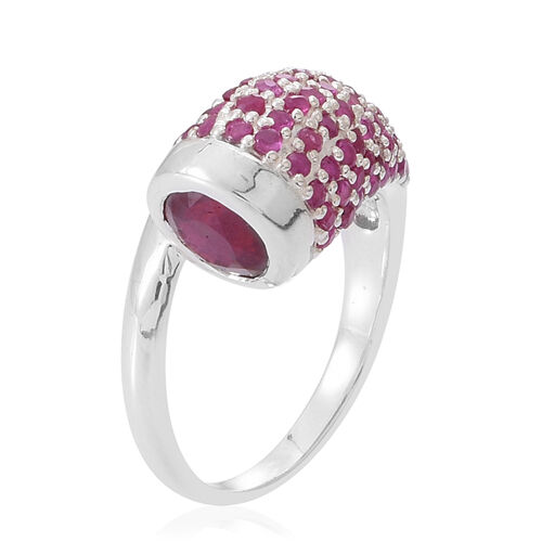 African Ruby (Rnd 2.30 Ct), Burmese Ruby Ring in Rhodium Plated Sterling Silver 4.000 Ct.