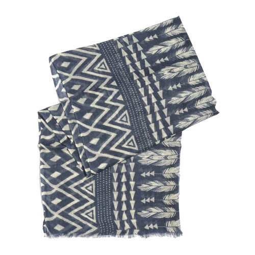 100% Merino Wool Indigo and Off White Colour Geometric Pattern Scarf with Fringes (Size 170X70 Cm)