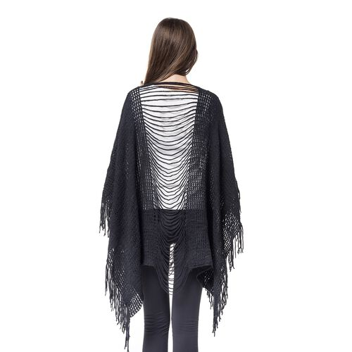 Designer Inspired - Black Colour Poncho (Free Size)