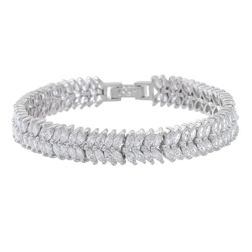 ELANZA AAA Simulated White Diamond (Mrq) Double Strand Bracelet (Size 8) in Rhodium Plated Sterling Silver. Silver Wt 17.00 Gms and 152  number of Stones.