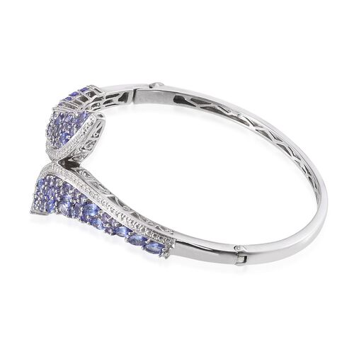 Tanzanite (Mrq), Simulated White Diamond Bangle (Size 7.5) in Platinum Overlay Sterling Silver 5.750 Ct.