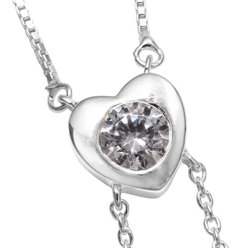 J Francis - Sterling Silver (Rnd) Heart Lariat Adjustable Necklace (Size 18) Made with SWAROVSKI ZIRCONIA, Silver wt 5.89 Gms.