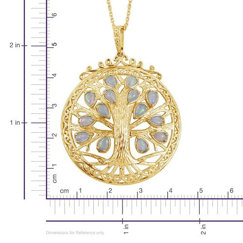 Ethiopian Opal (Pear) Tree Pendant With Chain in 14K Gold Overlay Sterling Silver 1.750 Ct.Silver Wt 10.30 Gms