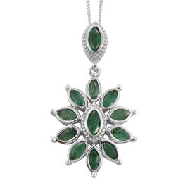 Kagem Zambian Emerald (Mrq) Pendant with Chain in Platinum Overlay Sterling Silver 2.000 Ct.