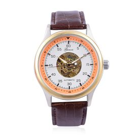 GENOA Automatic Skeleton White and Orange Dial Water Resistant Watch in Silver and Gold Tone with Glass Back and Chocolate Colour Leather Strap