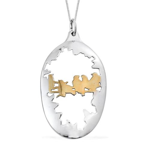 Platinum and Yellow Gold Overlay Sterling Silver Spoon Diorama Birds Pendant With Chain, Silver wt 8.22 Gms.