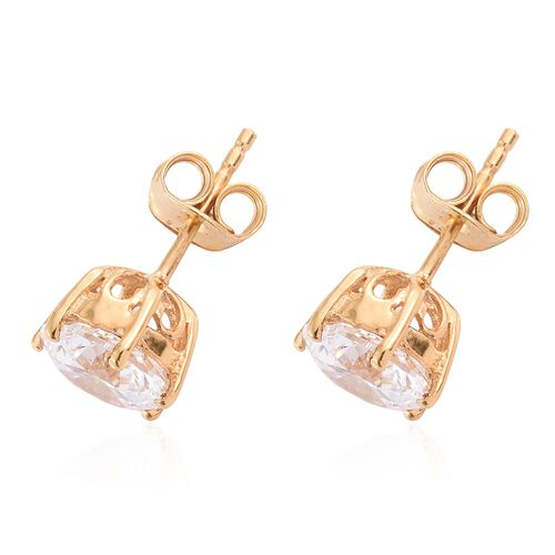 J Francis - 14K Gold Overlay Sterling Silver (Rnd 8mm) Stud Earrings (with Push Back) Made with SWAROVSKI ZIRCONIA
