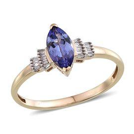 9K Y Gold Tanzanite (Mrq 1.10 Ct), Diamond Ring 1.250 Ct.