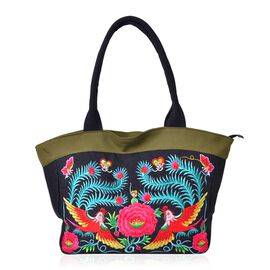 SHANGHAI COLLECTION Multi Colour Floral and Phoenix Embroidered Tote Bag with External Zipper Pocket (Size 50X30X15 Cm)