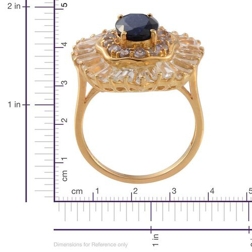 Kanchanaburi Blue Sapphire (Ovl 2.00 Ct), White Topaz and Tanzanite Ring in 14K Gold Overlay Sterling Silver 6.160 Ct.