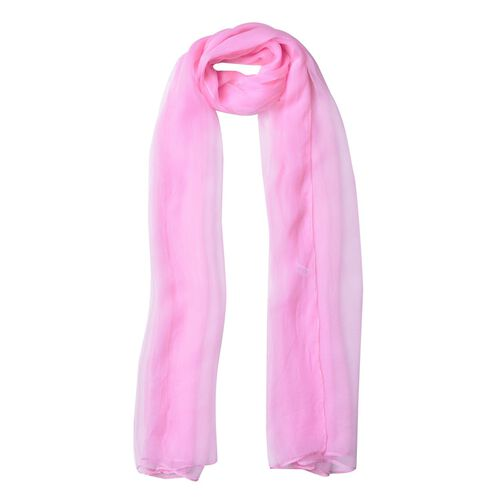 One Time Deal - 100% Mulberry Silk Pink Colour Scarf (Size 170X70 Cm)