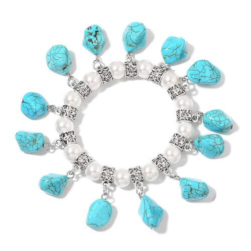 Set of 2 - Blue Howlite and Simulated White Pearl Seahorse and Multi Charm Stretchable Bracelet (Size 7.5) in Silver Tone 335.50 Ct.