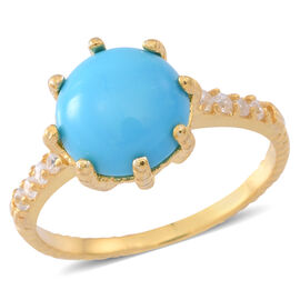 Arizona Sleeping Beauty Turquoise (Rnd 3.00 Ct), White Zircon Ring in Yellow Gold Overlay Sterling Silver 3.250 Ct.